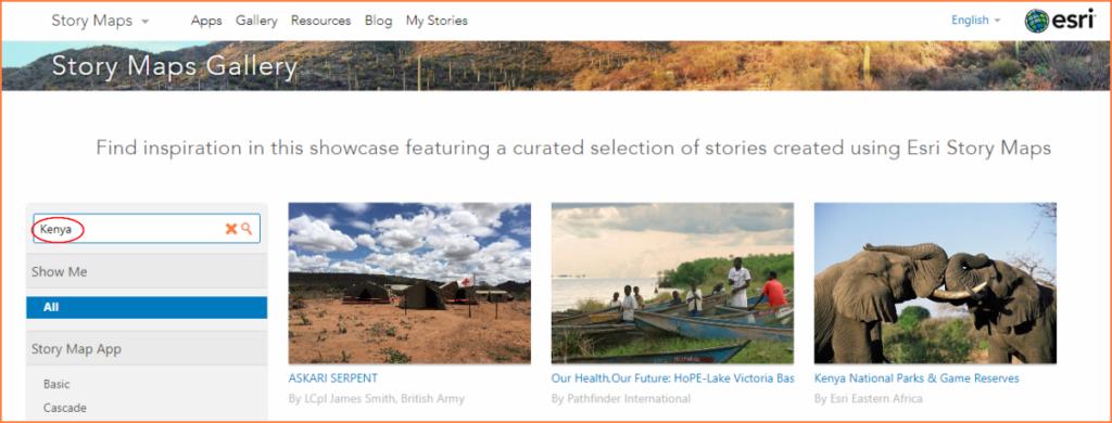 Esri Story Maps Gallery (Kenya)