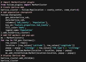 Python code for Folium MarkerClusters